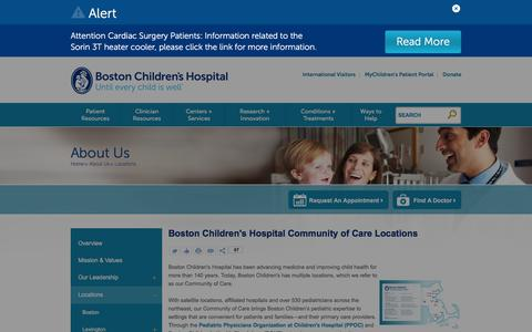 Boston Children's Hospital Community of Care Locations | Boston Children's Hospital