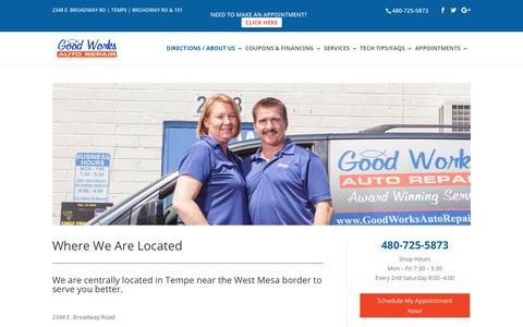 Screenshot of About Page goodworksautorepair.com - About Us: Honest Auto Repair   Good Works Auto Repair Tempe - captured Aug. 28, 2017