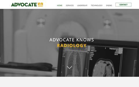 Screenshot of Home Page radadvocate.com - ADVOCATE: Radiology Billing Servies, Practice Management - captured Aug. 26, 2016