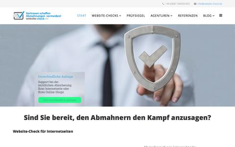 Screenshot of Home Page website-check.de - Website-Check.de Gütesiegel - Online-Shop Abmahnungen vermeiden - Rechtssichere Internetseiten - website-check.de - captured Nov. 22, 2016