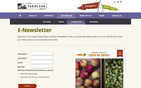 Screenshot of Signup Page pccfarmlandtrust.org - news - captured Dec. 5, 2015