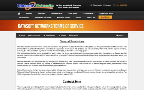 Screenshot of Terms Page datasoft.ws - Datasoft Networks - DATASOFT NETWORKS TERMS OF SERVICE - captured Oct. 7, 2018