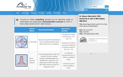 Screenshot of Services Page anteverta-mw.com - Services | anteverta-mw - captured Oct. 4, 2014