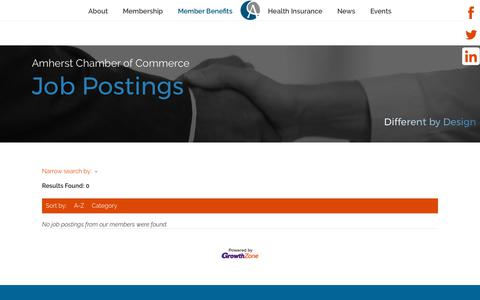 Screenshot of Jobs Page amherst.org - Job Postings - Amherst Chamber of Commerce - captured Oct. 8, 2017