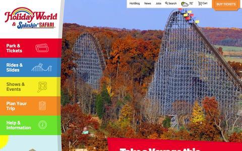 Screenshot of Home Page holidayworld.com - Holiday World Theme Park & Splashin' Safari Water Park - captured Sept. 23, 2014