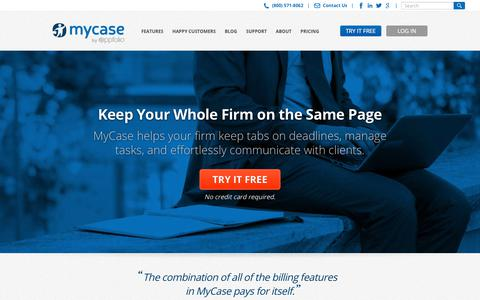 Screenshot of Home Page mycase.com - Case Management Software For Attorneys & Small Law Firms | MyCase - captured June 26, 2018