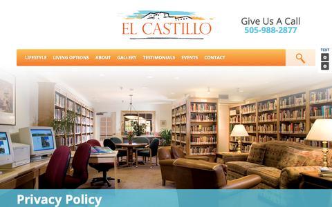 Screenshot of Privacy Page elcastilloretirement.com - El Castillo Privacy Policy - captured June 29, 2018