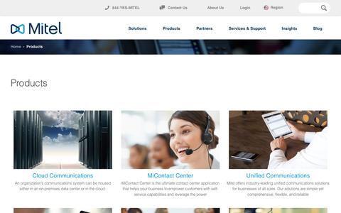 Screenshot of Products Page tigertms.ae - Mitel Products - captured Nov. 7, 2016