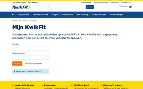 Screenshot of Login Page kwik-fit.nl - Kwik-Fit - captured Oct. 29, 2014