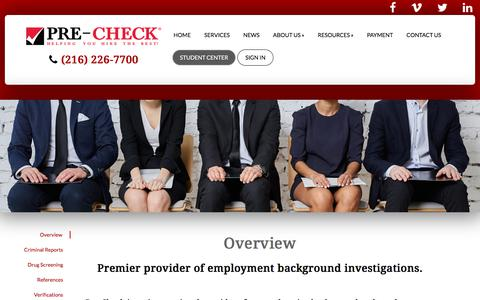 Screenshot of Services Page pre-check.com - Background Check Overview | Pre-Check - captured Nov. 17, 2017