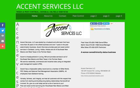Screenshot of Home Page accentservicesllc.com - Accent Services LLC - Carlsbad, NM - Weed and Pest Control - captured Nov. 20, 2016