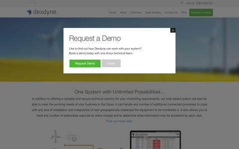 Screenshot of Home Page dexdyne.com - Dexdyne Ltd - Cloud based remote monitoring system - captured Feb. 9, 2016