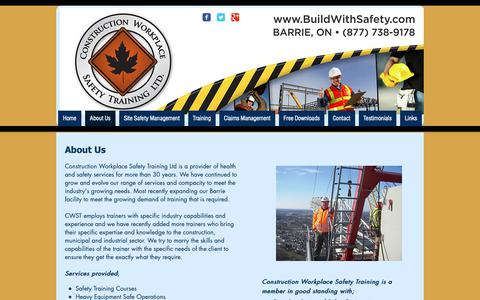 Screenshot of About Page buildwithsafety.com - Construction Workplace Safety Training Ltd | Construction Safety Train - captured Sept. 29, 2018