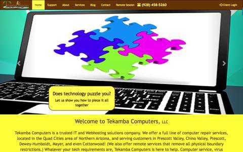 Screenshot of Home Page tekamba.com - Computer repair services in and around Prescott Valley and Chino Valley Arizona - captured Oct. 20, 2017