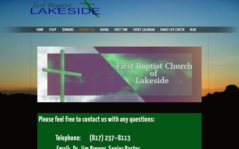 Screenshot of About Page Contact Page fblakeside.net - Contact Us «  Lakeside Baptist - captured April 16, 2017