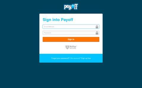 Screenshot of Login Page payoff.com - Payoff - captured July 19, 2014