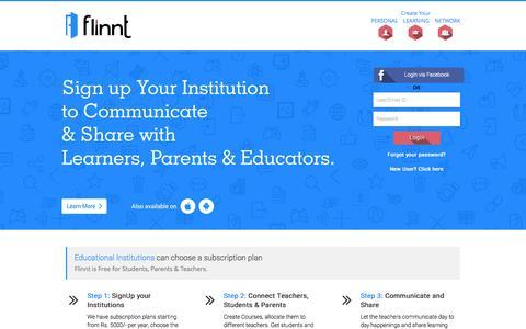 Screenshot of Home Page flinnt.com - flinnt | Home - captured Aug. 3, 2015
