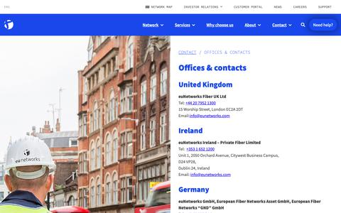 Screenshot of Contact Page eunetworks.com - Offices & contacts • euNetworks - captured Dec. 8, 2018