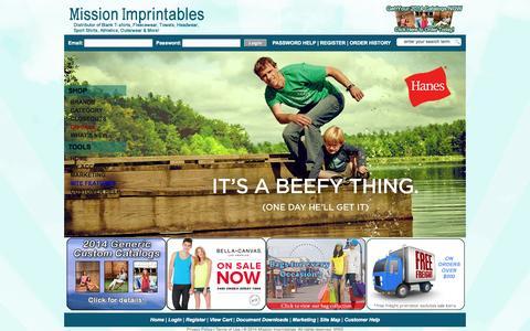 Screenshot of Home Page missionimprintables.com - Mission Imprintables: - captured Oct. 7, 2014