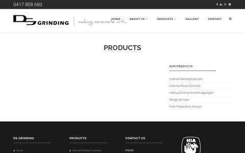 Screenshot of Products Page dsgrinding.com.au - Products - captured Aug. 5, 2018