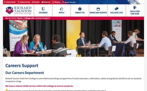 Screenshot of Jobs Page richardtaunton.ac.uk - Careers Support - Richard Taunton Sixth Form College - captured Nov. 19, 2018