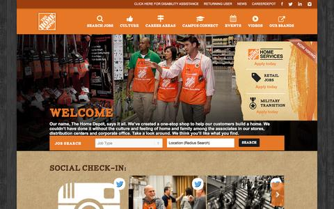 Screenshot of Jobs Page homedepot.com - Home Depot Careers - captured June 17, 2016