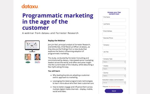 Screenshot of Landing Page dataxu.com - On demand webinar: Programmatic Marketing Age of Customer - captured Oct. 23, 2017