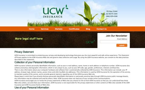 Screenshot of Privacy Page ucwinsurance.com - Privacy Policy - UCW Environmental Insurance - captured Oct. 3, 2014