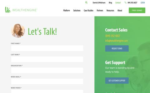 Screenshot of Contact Page wealthengine.com - Contact Us - WealthEngine - captured Oct. 1, 2019