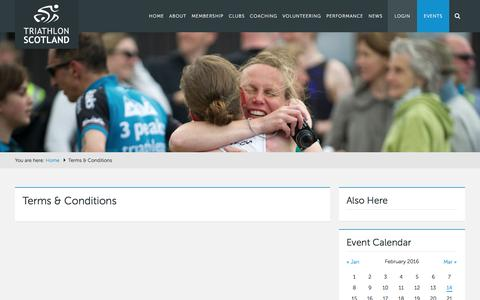 Screenshot of Terms Page triathlonscotland.org - Terms & Conditions - Triathlon Scotland - captured Feb. 25, 2016