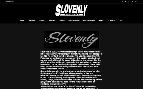 Screenshot of About Page slovenly.com - Slovenly Recordings |   ABOUT US - captured Oct. 20, 2018