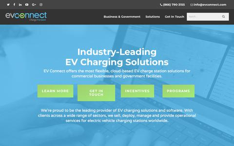 Screenshot of Home Page evconnect.com - EV Charging Solutions | Tech For Electric Vehicle Charging Stations - captured July 12, 2018
