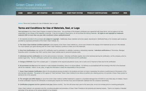 Screenshot of Terms Page greencleaninstitute.com - Terms and Conditions for Use of Materials, Seal, or Logo | Green Clean Institute - captured Dec. 5, 2018