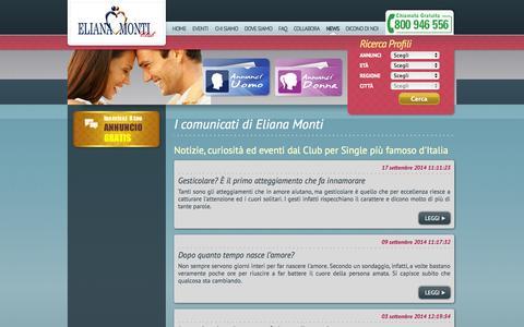 Screenshot of Press Page elianamonti.it - Agenzia matrimoniale Eliana Monti - captured Sept. 23, 2014