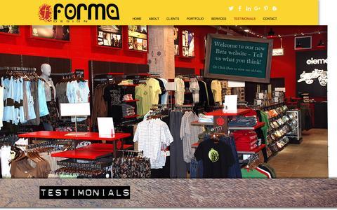 Screenshot of Testimonials Page formadesign.com - forma | TESTIMONIALS - captured Nov. 25, 2016