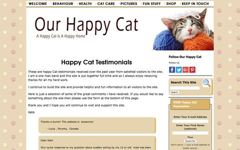Screenshot of Testimonials Page our-happy-cat.com - Happy Cat - Testimonials - captured Sept. 23, 2018