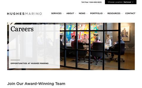 Screenshot of Jobs Page hughesmarino.com - Careers - Hughes Marino - captured June 9, 2019