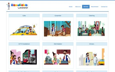 Screenshot of Services Page ramukaka.com - Ramukaka Household services in Hyderabad|Temporary Drivers in hyderabad|Cabs in Hyderabad|Carpenter in Hyderabad|Plumber in hyderabad - captured Sept. 19, 2014