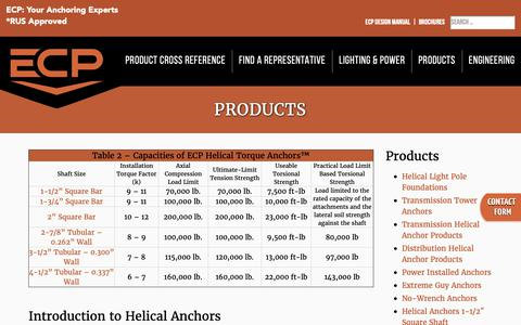 Screenshot of Products Page ecputility.com - Products - Earth Contact Products Utility - captured Sept. 26, 2018