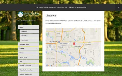 Screenshot of Maps & Directions Page shspdm.com - Directions — Sleepy Hollow Sports Park - captured June 6, 2016