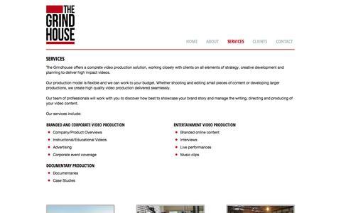 Screenshot of Services Page thegrindhouse.com.au - Video production Sydney   The Grindhouse - captured Sept. 30, 2014