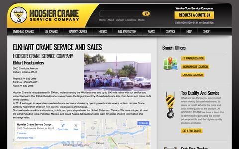 Screenshot of Locations Page hoosiercrane.com - Elkhart Crane Service and Sales | Hoosier Crane Service - captured Nov. 12, 2016