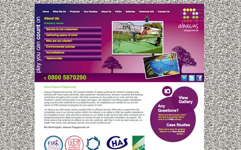 Screenshot of About Page abacuspg.co.uk - Abacus Playgrounds Ltd   UK's No.1 Playground Safety Surfacing Fitters - captured Oct. 4, 2014