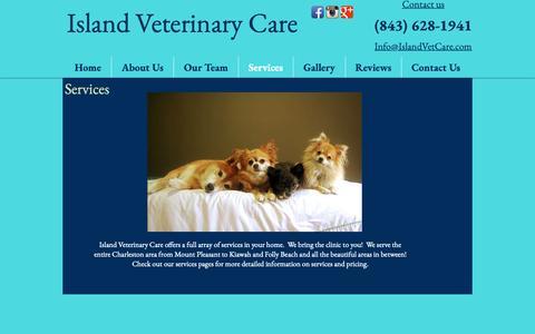 Screenshot of Services Page islandvetcare.com - 2018 Island vet care   Services - captured Oct. 13, 2018