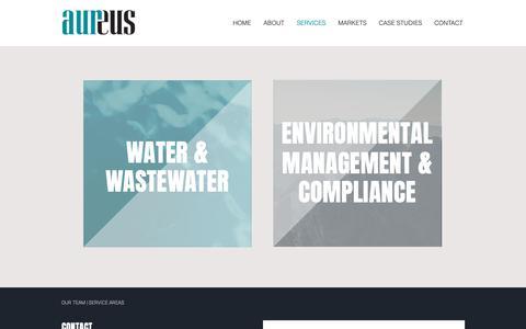 Screenshot of Services Page aursi.ca - Environmental Management & Compliance | North America | Aureus - captured Oct. 4, 2018