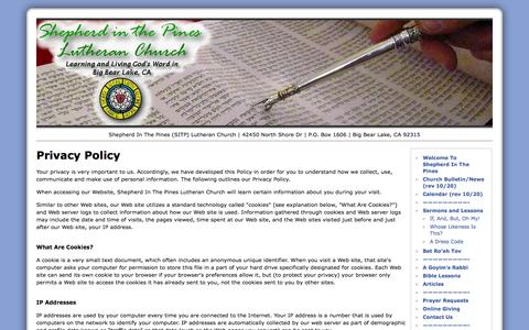 Screenshot of Privacy Page sitpbigbear.org - Privacy Policy | Shepherd In The Pines Lutheran Church (SITP) Big Bear Lake CA - captured Oct. 31, 2014