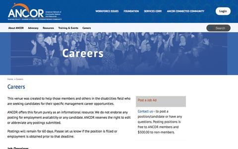 Screenshot of Jobs Page ancor.org - Careers | ANCOR | American Network of Community Options and Resources - captured Jan. 15, 2018