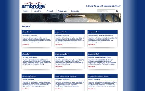 Screenshot of Products Page ambridgeeurope.com - Products | Ambridge Europe® LLC:Bridging the gap with insurance solutions - captured March 31, 2016