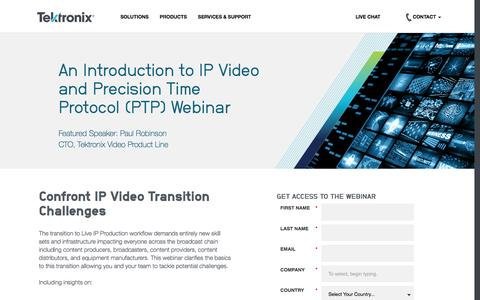 Screenshot of Landing Page tek.com - Tektronix   IP Video and Precision Time Protocol Webinar - captured Aug. 15, 2016