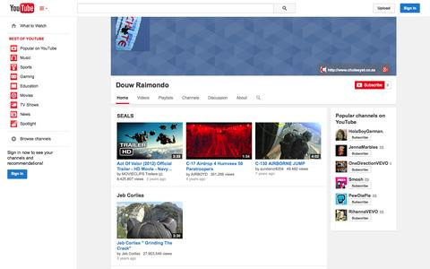 Screenshot of YouTube Page youtube.com - Douw Raimondo  - YouTube - captured Oct. 22, 2014